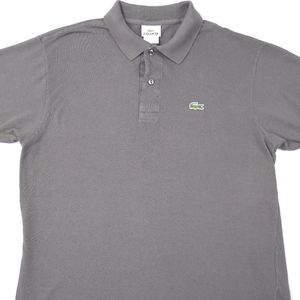 Lacoste Vintage Washed Gray Mens Short Sleeve Polo